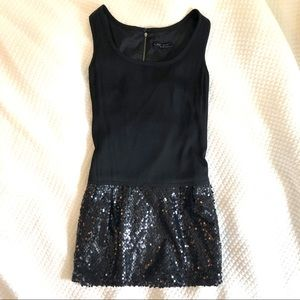 EUC Nanette Lepore Drop Waist Silk & Sequin Dress